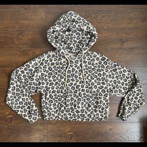 ABERCROMBIE leopard crop hoodie